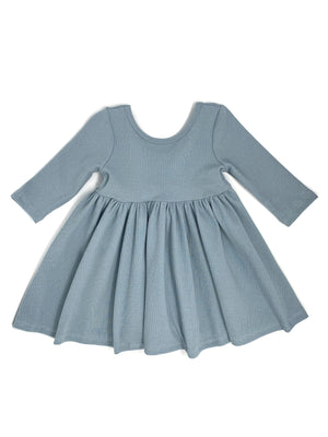 DUSTY BLUE | RIBBED KNIT TWIRL DRESS