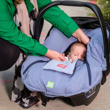 baby parka blue car seat cover shown on seat with newborn