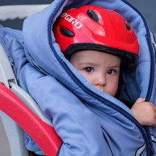 baby parka blue toddler coat on 18 month old in bike seat