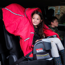 baby parak red toddler coat on 4 year old in booster seat in van