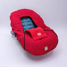 baby parka red car seat cover on car seat