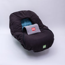 baby parka car seat cover black shown on car seat
