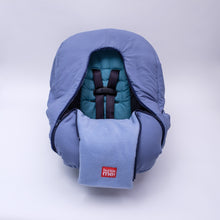 baby parka car seat cover blue shown on car seat unzipped