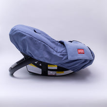 baby parka car seat cover side view in blue on car seat