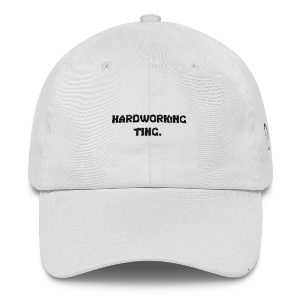 White Hardworking Ting. Dad Cap