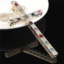 Gallant Multicolor Crystal Cross Necklace For Women