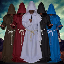New 2017 Medieval Cosplay Costume Renaissance Monk Priest Clothing Cloak Cape Robe Women Men Halloween Medieval Dress Costume