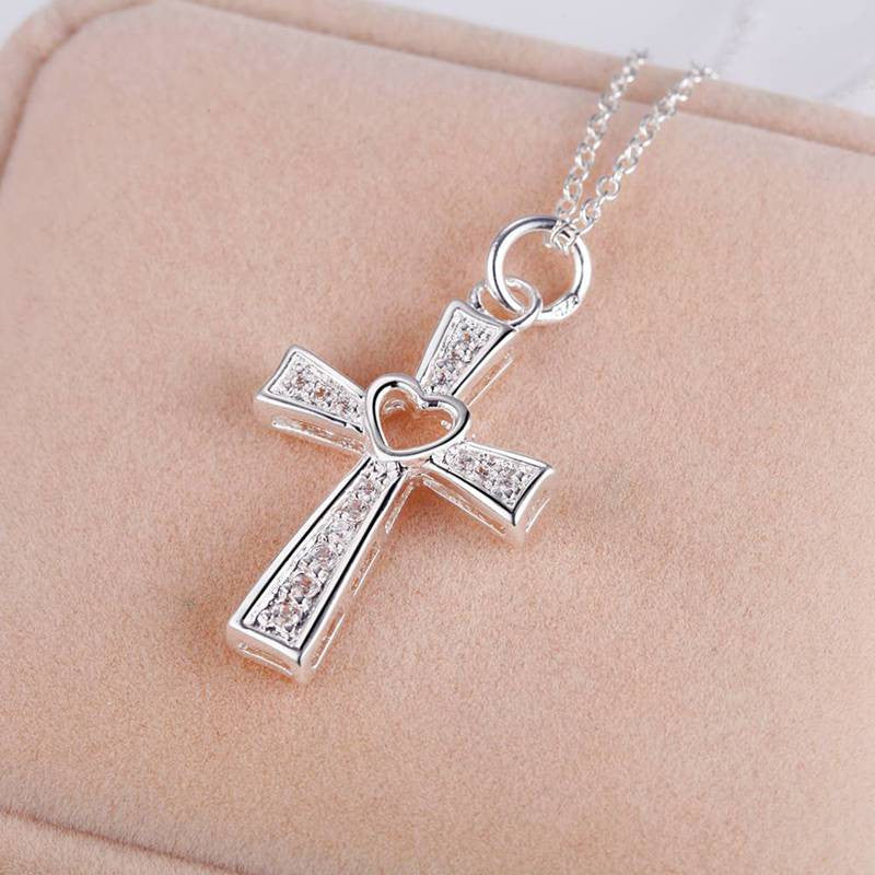 Silver Jewelry Fashion Cross Necklace Hollow Heart