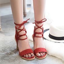 Women Suede Block heel Sandals Pumps Lace Up