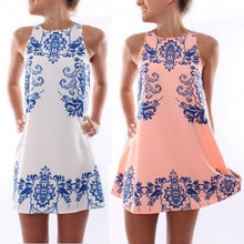 Chic mini Women Sleeveless  Floral Print Casual  Summer Dresses