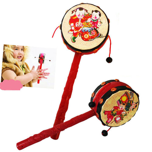 Musical Instrument Chinese Traditional Rattle Drum Spin Toys For Baby