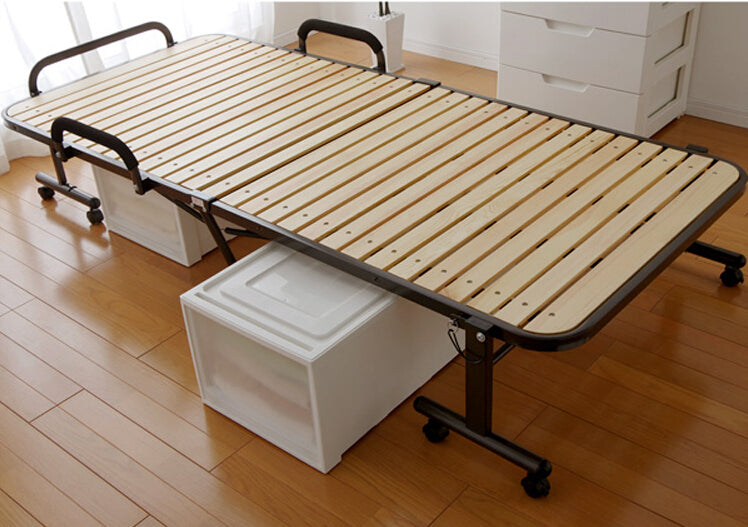 Japanese Metal Folding Bed Frame With Caters Bedroom  Foldable Platform Bed Frame Wooden Slatted