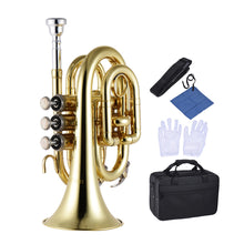 Mini Pocket Trumpet Mouthpiece Gloves Cleaning Cloth Carrying Case