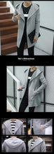 Autumn Winter  Long Hooded Jacket Coat Men  Knitted  Casual Mens Trench