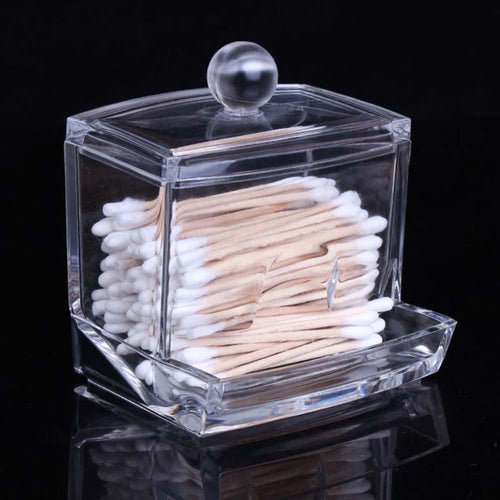 Clear Acrylic Q-tip Makeup Storage Cotton Swab Organizer Box Cosmetic Holder