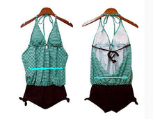Womens One-piece String Stripes Halter Swimwear  Bathing Suit