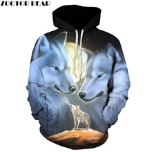 Wolf Printed 3d Hoodies Sweatshirts Male Hooded Jackets Big size