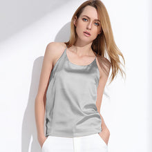 Women Sleeveless top Silk shirt Bloose