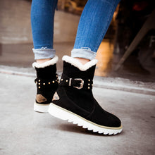 Waterproof Snow Boots Women Winter Fashion Casual Rivet Belt  Ankle Boots Big Size 34-43 Shoes