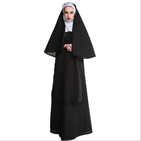 Halloween costumes for men & women, christmas Jesus& Cross priest&Men missionaries&Father monk costume,nun&Marian suit M XL