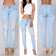 Women s Denim Pencil Pants Ripped Jeans SlimTrousers Casual Men Skinny Jeans
