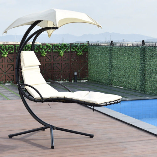 Hanging Chaise  Arc Stand Swing Hammock Chair  Beige Outdoor Furniture