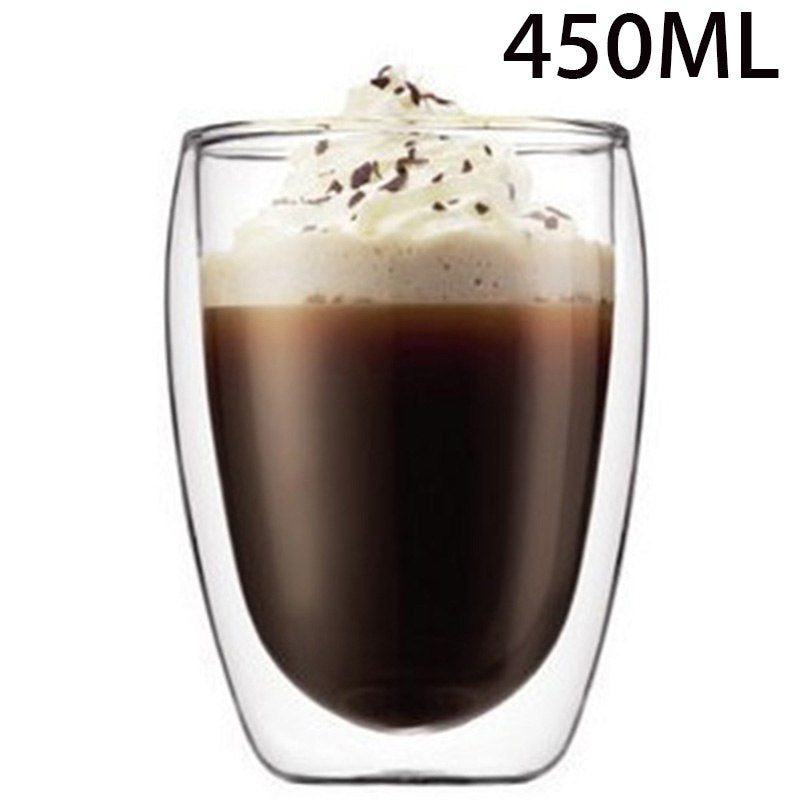 Double Wall Glass Cups Coffee Mug  Heat Resistant Cappuccino