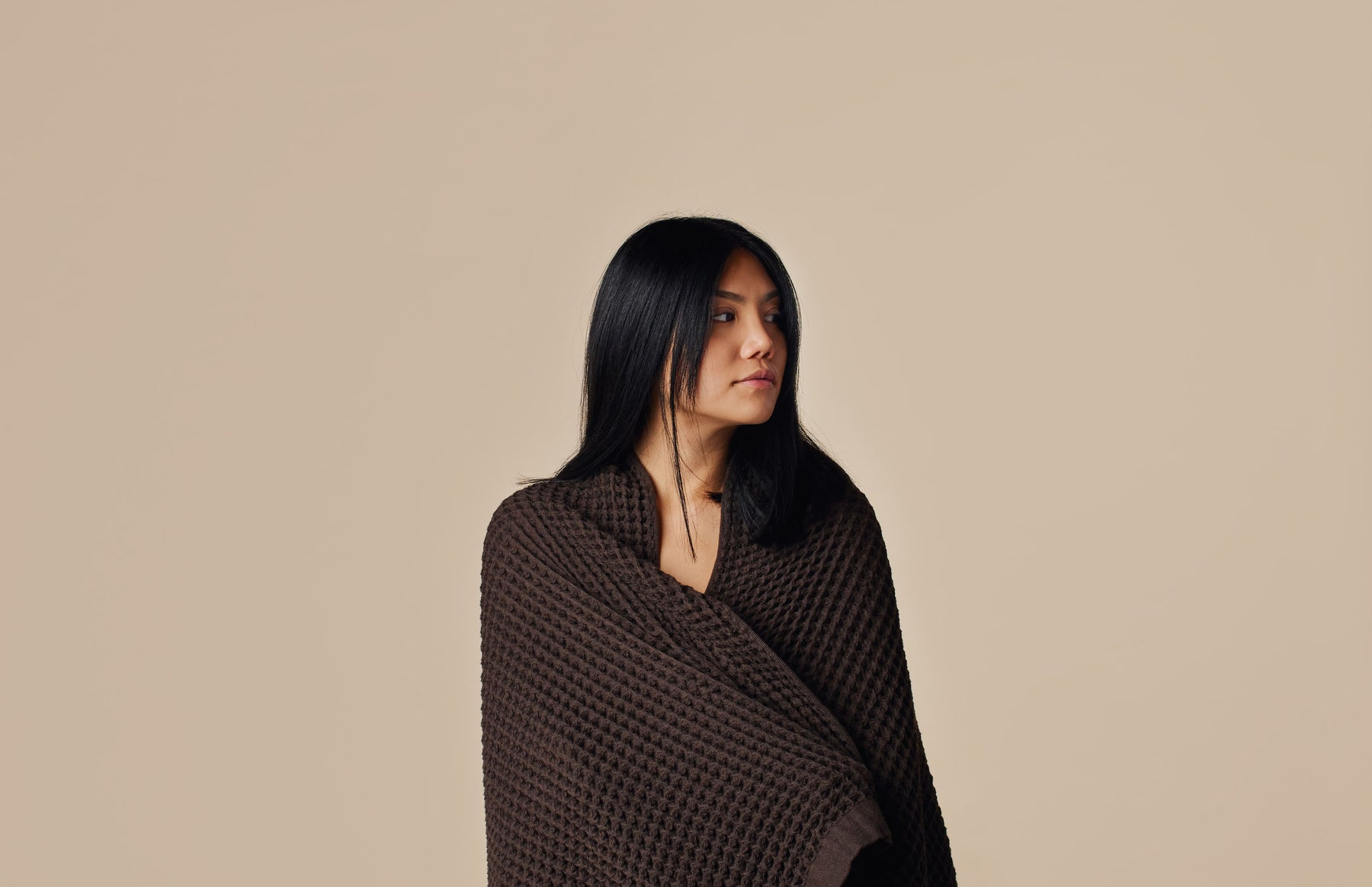 Wrapped up in the new Onsen Bath Towel in Brown
