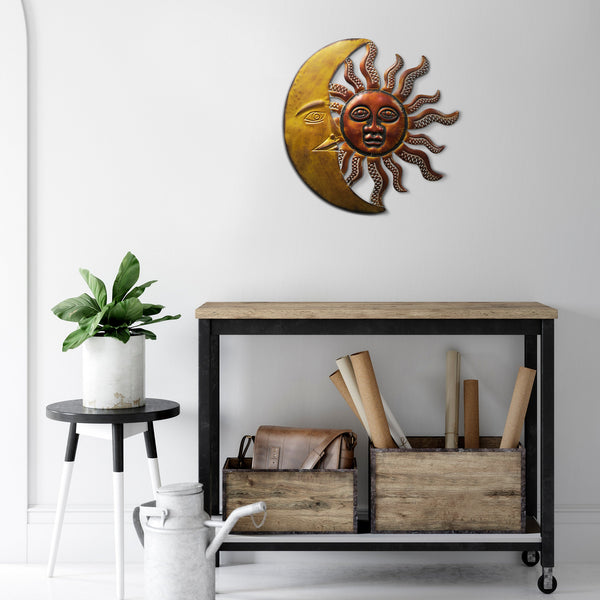 Celestial Sun and Moon Wall Decor In Metal, Gold and Rust Brown - BM05394