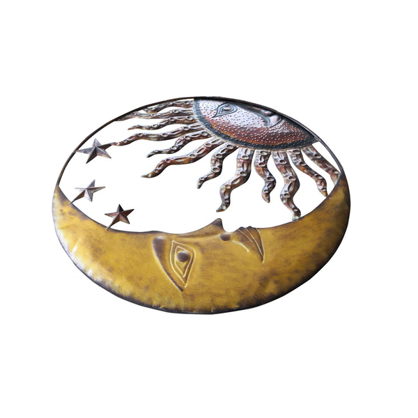 Benzara Celestial Metal Sun Moon Wall Decor, Bronze Gold and Rust Red - BM05395