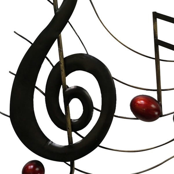 Metal Musical Notes Wall Hanging Art Decor, Black and Copper - BM05414