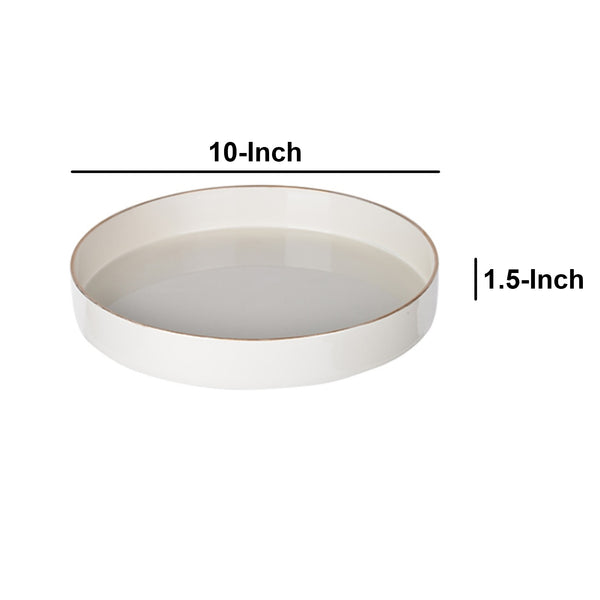 Contemporary Round Glossy Plastic Tray, White - BM152860