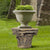 Traditional Resin Decorative Pedestal with Scrolled Design, Weathered Brown - BM147076