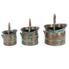 Green Tinged Metal Bucket Planter With Handles, Set of 3 - BM01164