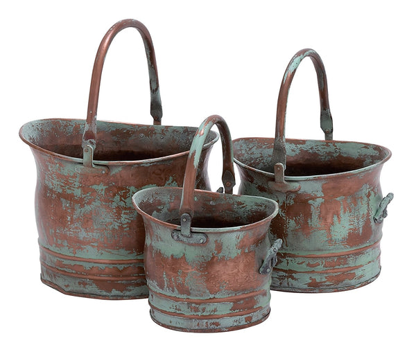 BM01164 Green Tinged Metal Bucket Planter With Handles, Set of 3