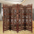 Traditional Four Panel Wooden Room Divider with Hand Carved Details, Antique Brown - BM01866