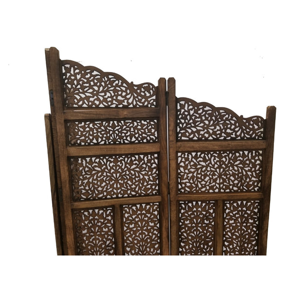 Benzara Hand Carved Foldable 4-Panel Wooden Partition Screen/RoomDivider,Brown - BM01875