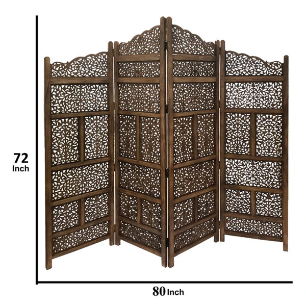 BM01875 Benzara Hand Carved Foldable 4-Panel Wooden Partition Screen/RoomDivider,Brown