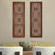 2 Piece Mango Wood Wall Panel Set with Mendallion Carving, Burnt Brown - BM01883