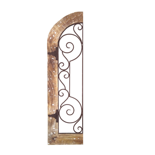 BM03777 Arched Wooden Frame Wall Panel with Scrolled Metal Accents, Rustic Brown