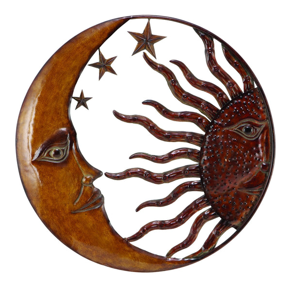 BM05395 Benzara Celestial Metal Sun Moon Wall Decor, Bronze Gold and Rust Red