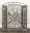 Benzara Traditional 3 Panel Metal Fire Screen With Filigree Design, Bronze - BM06168
