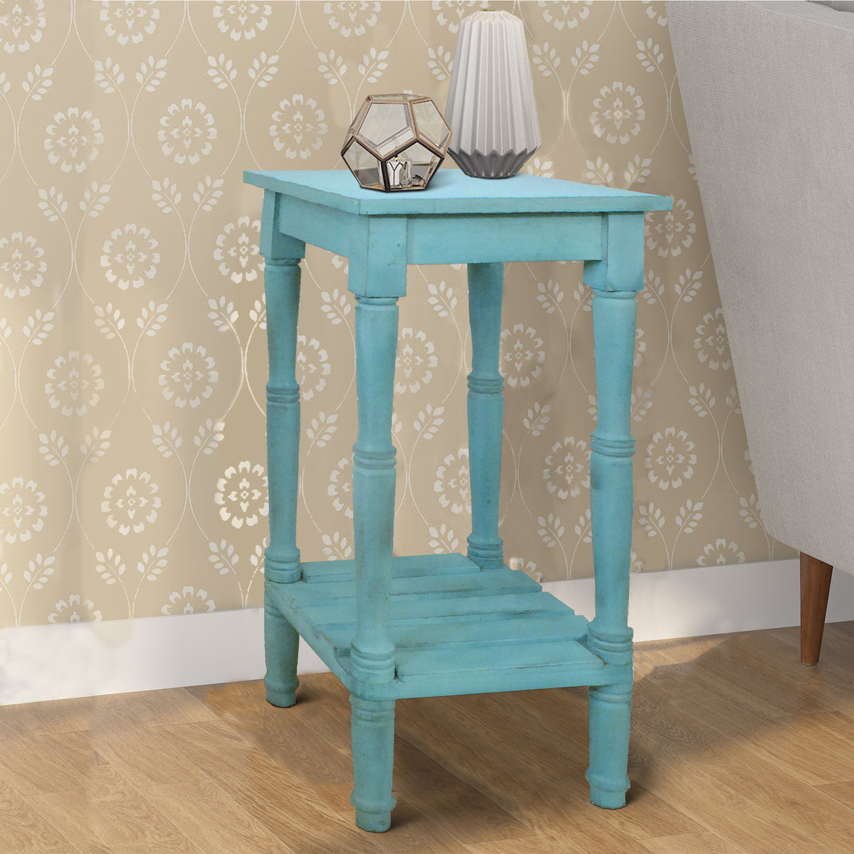 Benjara 29 Inch Mango Wood Side Table With Slatted Bottom Shelf Antique Blue Bm07541 Benzara Com