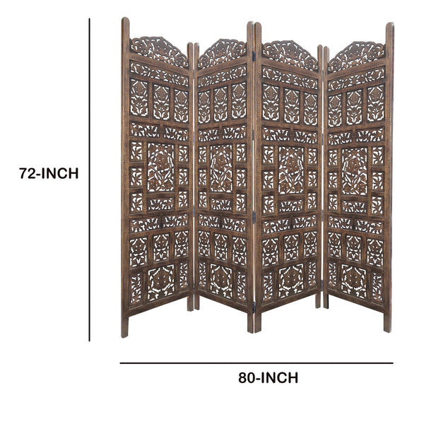 Classic 4 Panel Mango Wood Screen with Intricate Carvings, Brown - BM119478