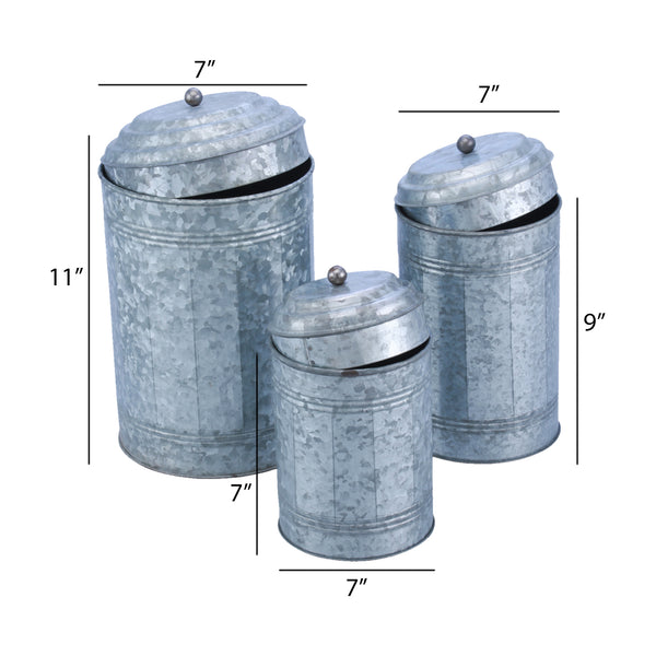 BM120150 Galvanized Metal Lidded Canister With Oxidized Ball Knob, Set of Three, Gray