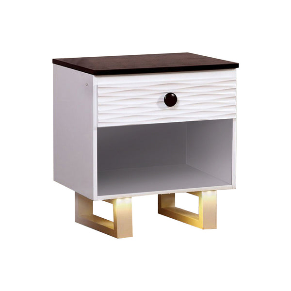 BM123049 MEREDITH NIGHT STAND WITH USB OUTLET , White & Dark Walnut