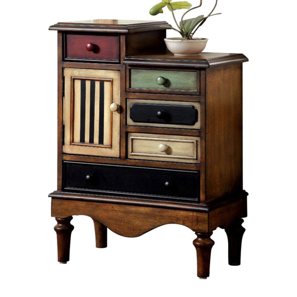 BM123058  Vintage Style Accent Chest With 5 Drawers, Walnut Brown