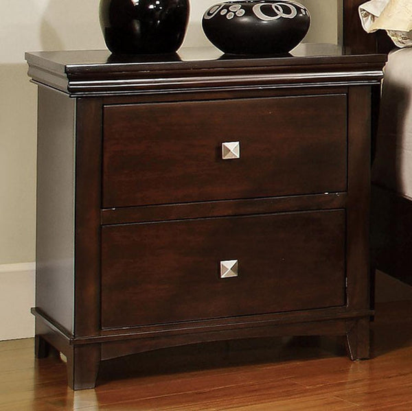 BM123110 Pebble Transitional Nightstand, Espresso Finish