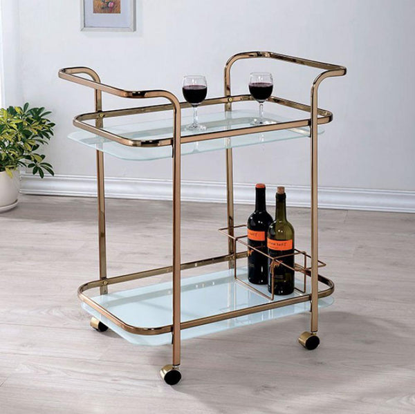 BM123225 Tiana Contemporary Serving Cart In Champagne Finish