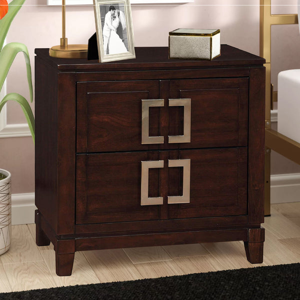 Balfour Transitional Night Stand In Brown Cherry Finish - BM123239
